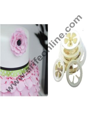 Cake Decor Plastic Rose Flower 5 Petal Fondant Cutter Cake Cutter (Set Of 6 Cutters in Different Sizes)
