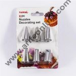 Cake Decor 6 Piece Cake Decorating Set Frosting Icing Piping Bag Tips With Steel Nozzles. Reusable & Washable.
