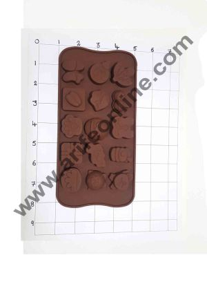 Cake Decor Silicon 15 Cavity Mix GiftBox,Grass,Kitten Face Brown Chocolate Mould, Ice Mould, Chocolate Decorating Mould