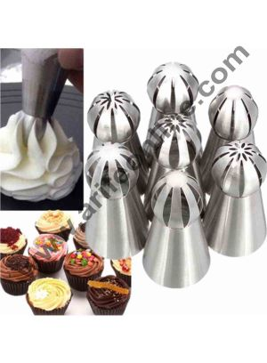 Cake Decor 7Pcs Russian Flower Icing Piping Nozzle Tip Pastry Cake Baking Tool