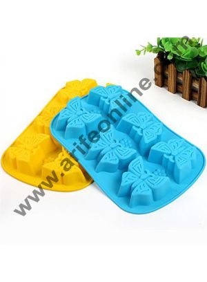 Cake Decor Butterfly 6-Cavity Silicone Cupcake Baking Cups Handmade Soap Molds Candy Molds Chocolates Molds & Ice Cube Trays(Weight of 1 Cavity Butterfly soap Approx 65g