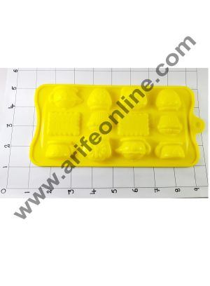 Cake Decor Silicon 12 Cavity Biscuit,Tea Cup and Tea Pot Design Brown Chocolate Mould, Ice Mould, Chocolate Decorating Mould
