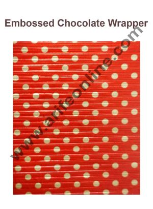 Cake Decor Chocolate Wrappering Foil, Embossed Chocolate Wrapper, 200 Sheets - 10in x 7in - Dotted Red Gold