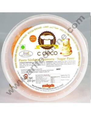 C Deco Sugar Paste (Fondant)-Orange 200 GRM