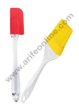 Cake Decor Silicone Brush and Spatula Set Medium Size, 2-Pieces (Assorted) Spatula 23cm Height and 5cm Width,Brush 21.5cm Height and Width 4.3cm