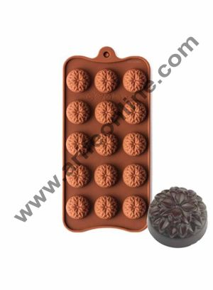 Cake Decor 15-Cavity Marygold Flowers Shape Silicone Brown chocolate Moulds