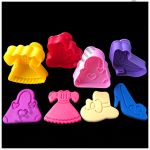 Cake Decor 4 Pc Lady Shoes Purse Sandal Plastic Biscuit Cutter Plunger Cutter