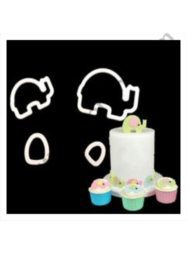 Cake Decor 4 Pc Mummy and Baby Elephant Plastic Fondant Cutter Gumpaste Cutter 1