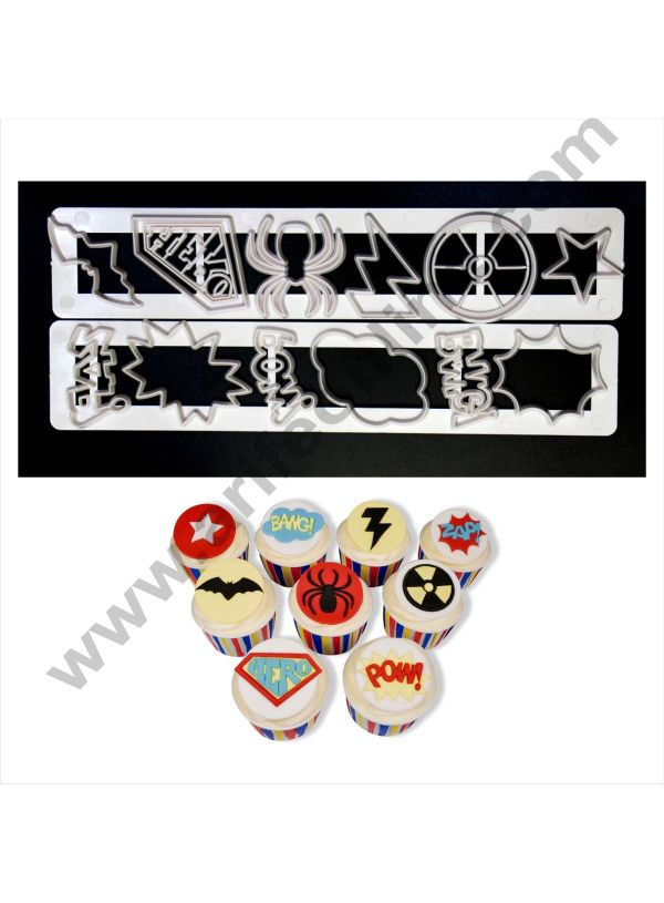 Cake Decor 2 Pc Super Heroes Tapper Cutter Plastic Fondant Cutter Gumpaste Cutter 1