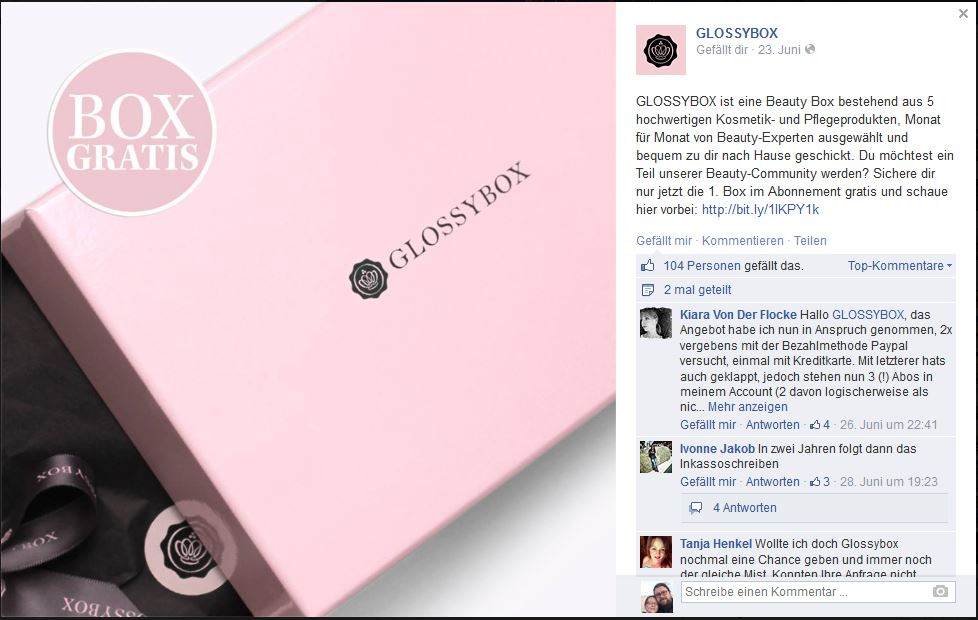 Glossybox - Kundenfreundlichkeit ist anders! (1/4)
