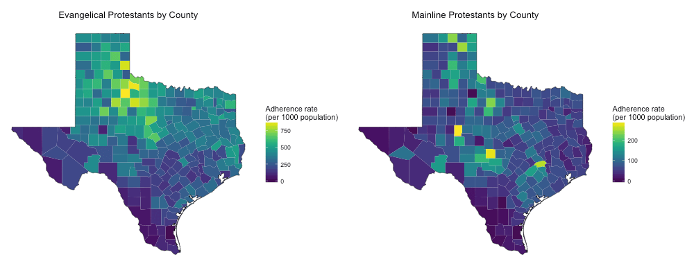 Texas Protestants by County