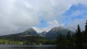 The High Tatras as seen from theŠtrbské Pleso lake.
