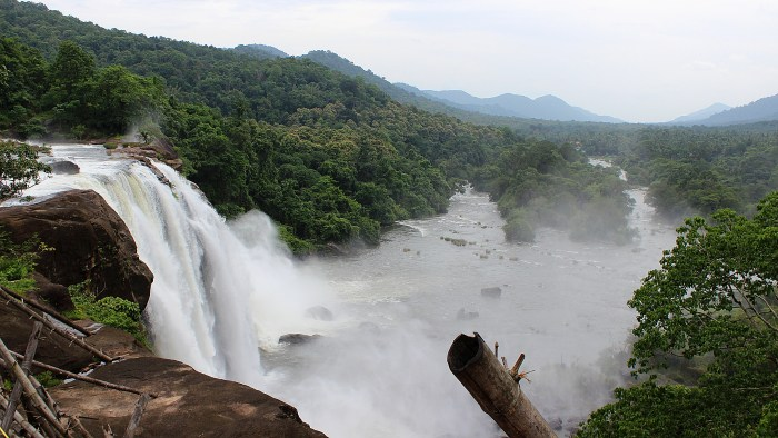 Athirappilly Falls in Kerala from the side.