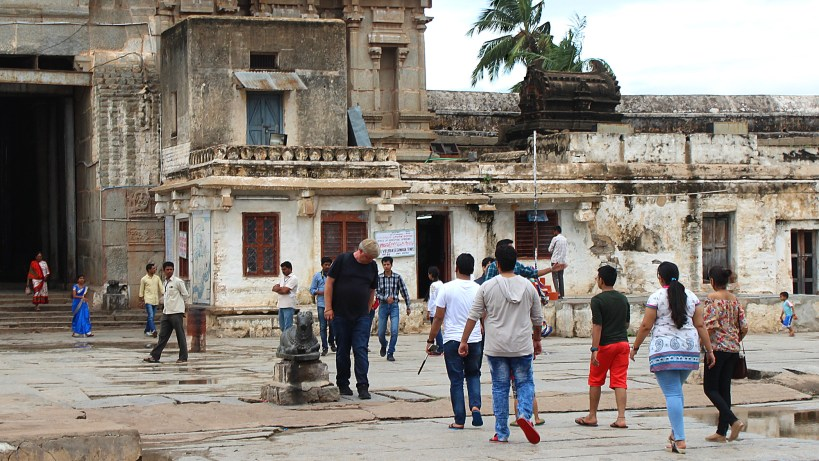 Tourists in the yard of the Virupaksha Temple.