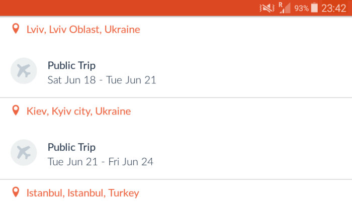 CouchSurfing public trips in the mobile application.