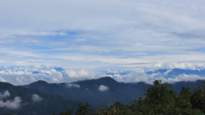A wide range of the Himalayas in the distance as seen from Daman, Nepal.