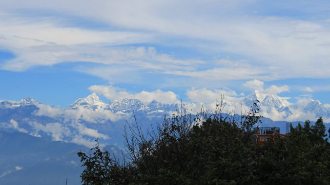 A glimpse of the Himalyas from the yard of Hotel at the End of the Universe, Nagarkot.
