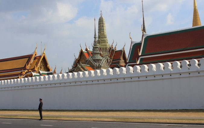A Thai soldier standing outside Grand Palce during the King Bhumibol mourning period.