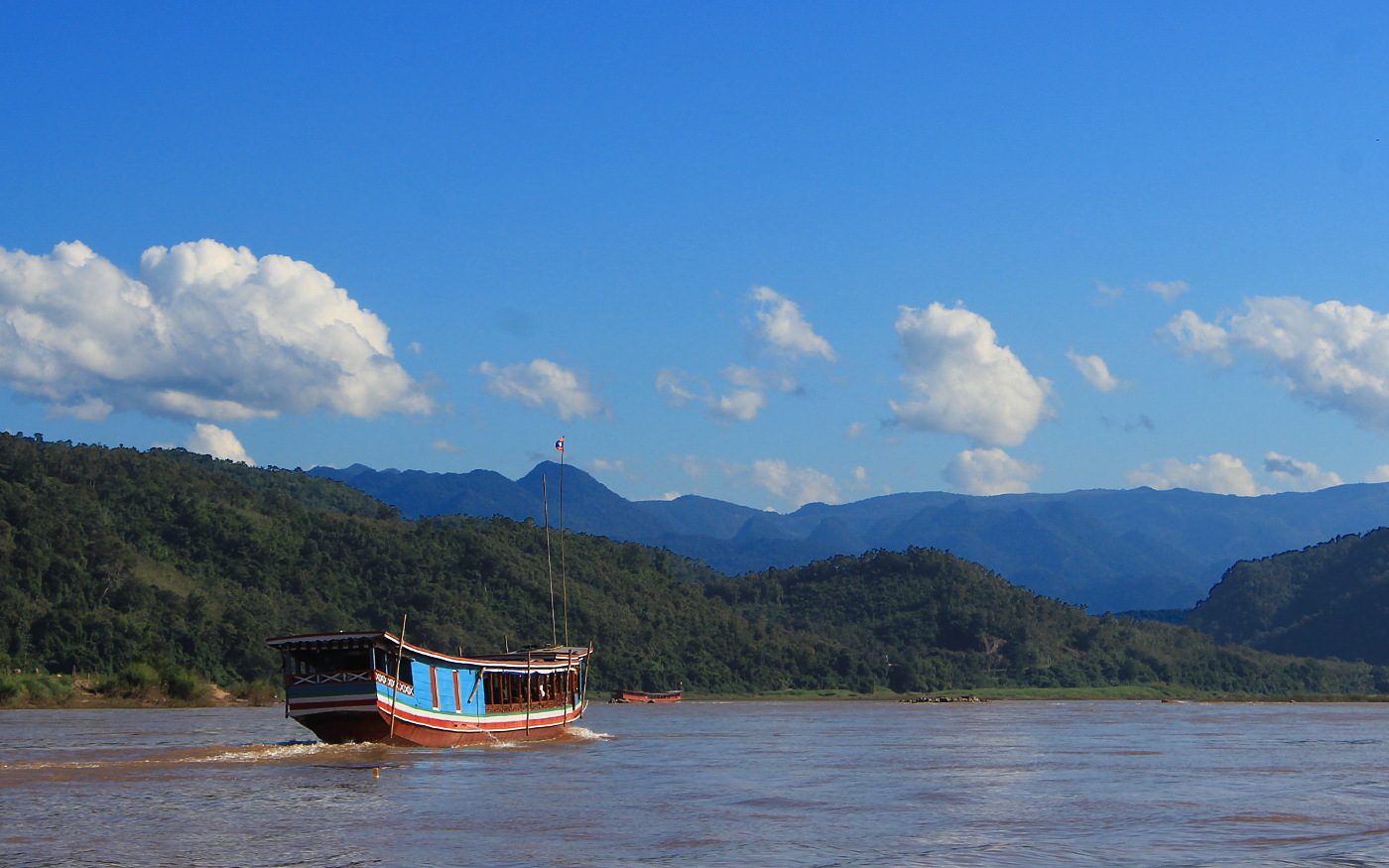 Slow boat from Luang Prabang to Huay Xai. A slow boat on the Mekong river..