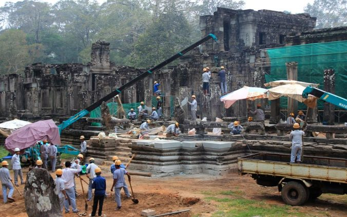 Construction site at Bayon, Angkor Tom, Cambodia.