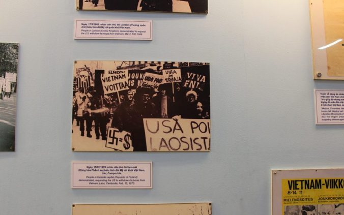Finnish demonstration against the Vietnam War in War Remnants museum, Ho Chi Minh City.