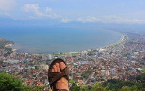 View from Morro de Santo Antonio viewpoint in Caraguatatuba, Brazil.