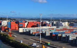 Containers on the Port of Tauranga, New Zealand