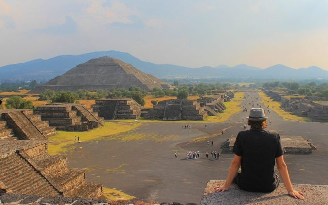 Sunset photo at the Pyramid of the Moon, Teotihuacan.