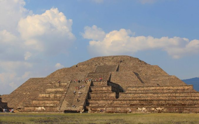 The Pyramid of the Moon at sunset. Day trip to Teotihuacan from Mexico City.