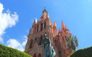 La Parroquia de San Miguel Arcángel and a statue in San Miguel de Allende, Mexico.