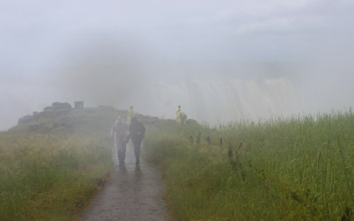 Massive amounts of rain and mist at Victoria Falls National Park viewpoints