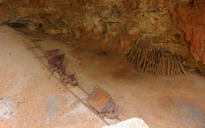 Visitng Makapan's Caves. Limestone mining cart in the caves near Mokopane, Limpopo, South Africa