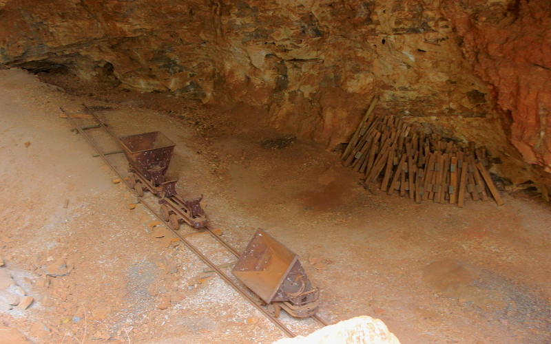Visitng Makapan's Caves. Limestone mining cart in the caves near Mokopane, Limpopo, South Africa