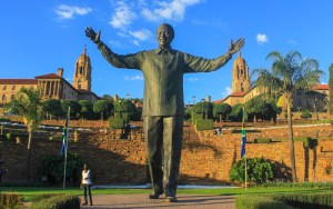 The statue of Nelson Mandela at Union Square, Pretoria during sunset.