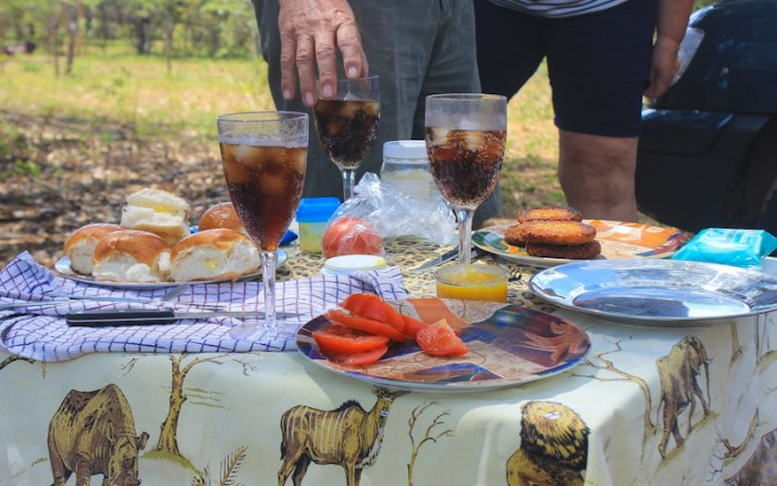 South African picnic table with glasses, plates and food outdoors.