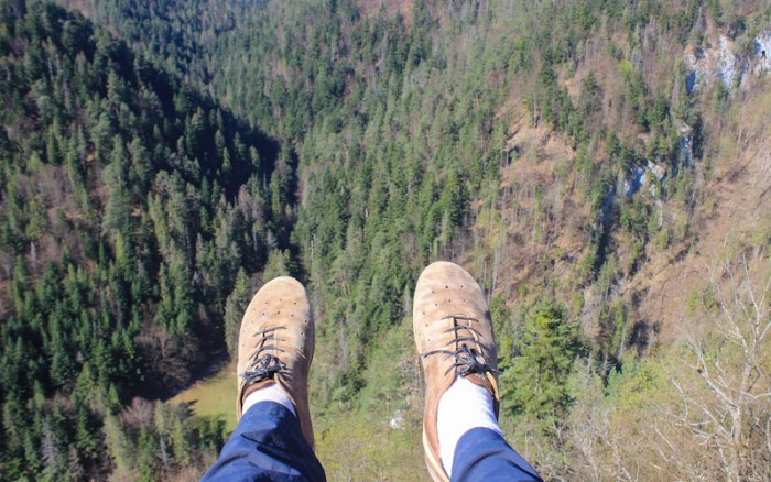 Ecco Biom shoes for hiking. View from the Tomasovsky Vyhlad viewpoint in Slovak Paradise National Park