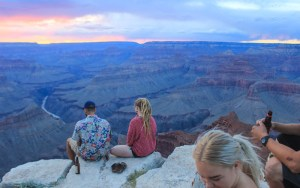Watc;hing the sunset on the edge of Grand Canyon