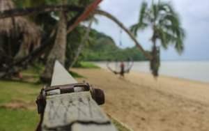 A slackline in The Beachhouse, Fiji