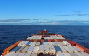 The view from the cabin of a freighter crossing the Pacific. Half-flightless travel.