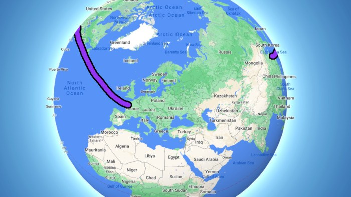 Traveling from Europe to Asia through America