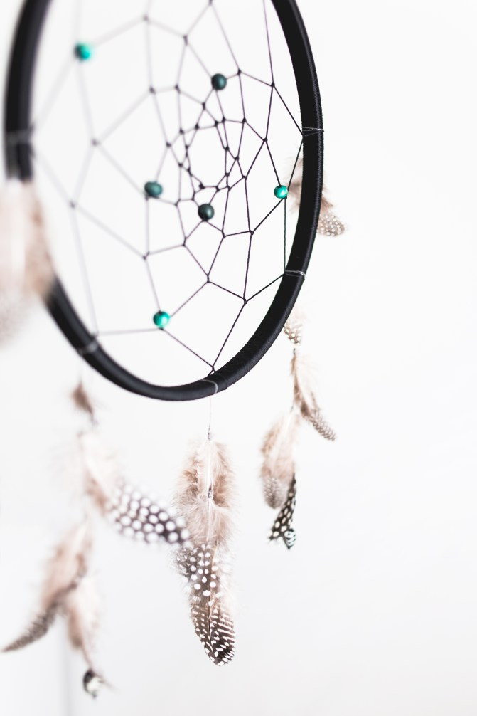 Black dreamcatcher with blue beads