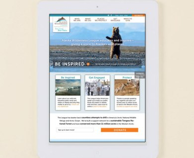 Web design for environment nonprofit Alaska Wilderness league