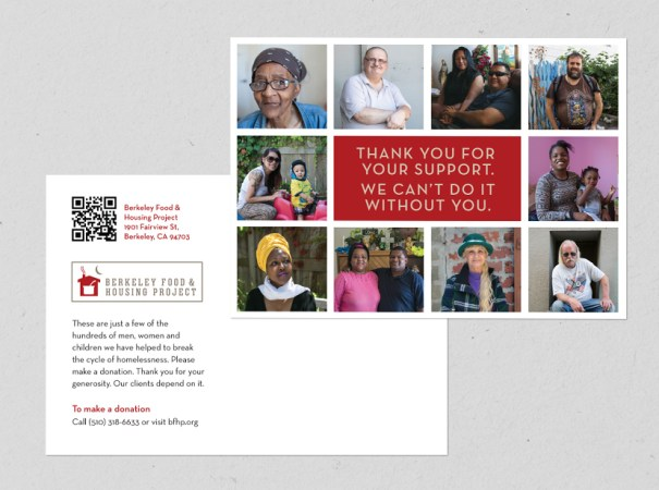 Year-end, fundraising postcard for non profit