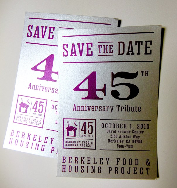 Berkeley Food and Housing Project's save the date postcard design
