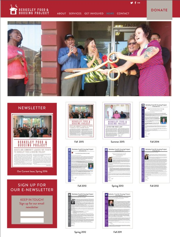 Berkeley Food and Housing Project web design for non profit
