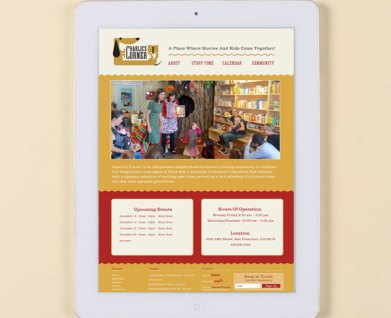 Website for Charlie's Corner, children's bookstore reading website