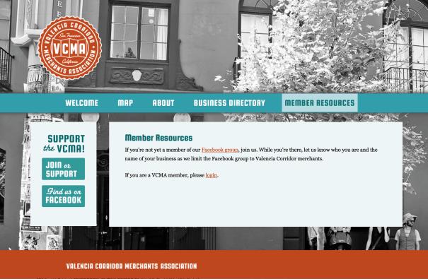 Valencia Corridor Merchant's Association website design