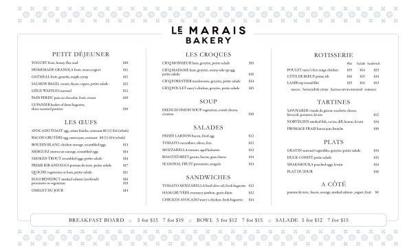 design of Le Marais Menus, San Francisco bakery and restaurant