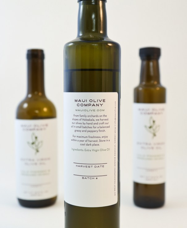 rear label for Maui Olive Company's label and package design