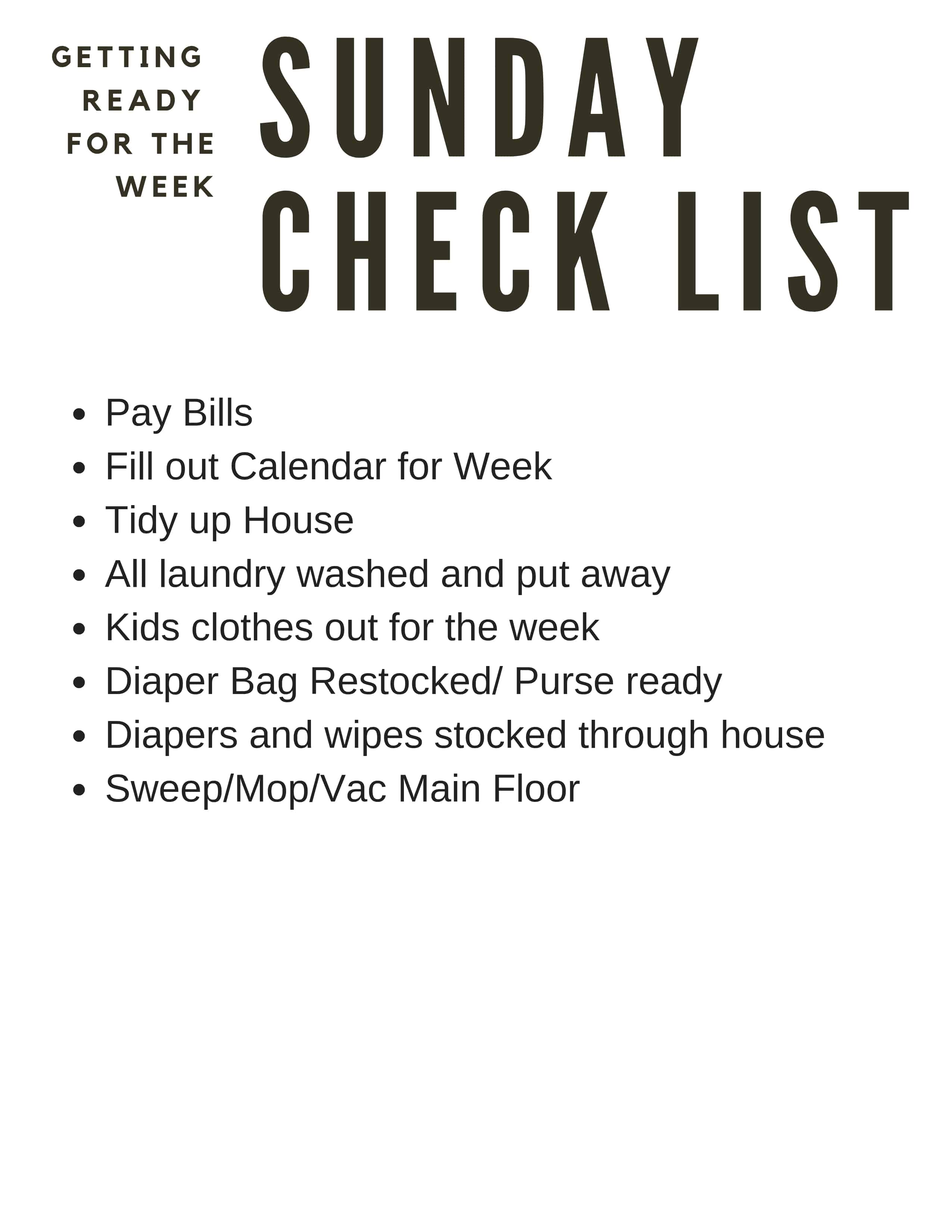 Free Printable Weekly Cleaning Lists